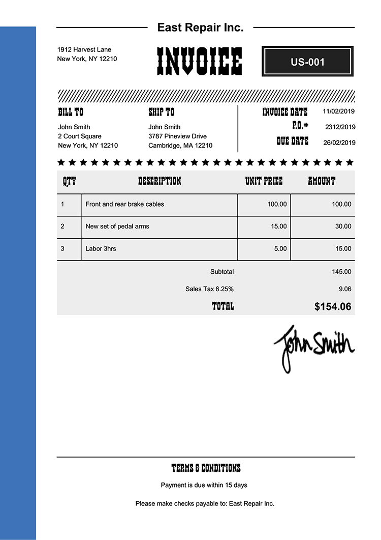 Invoice Template Us Western Blue