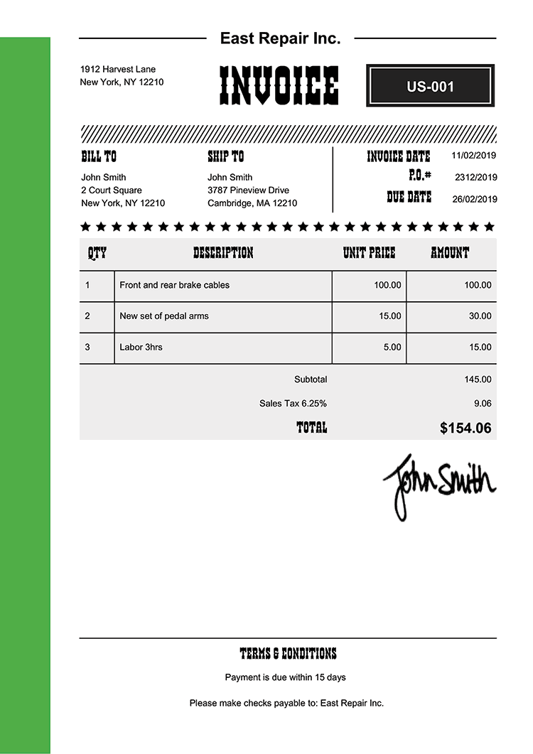Invoice Template Us Western Green