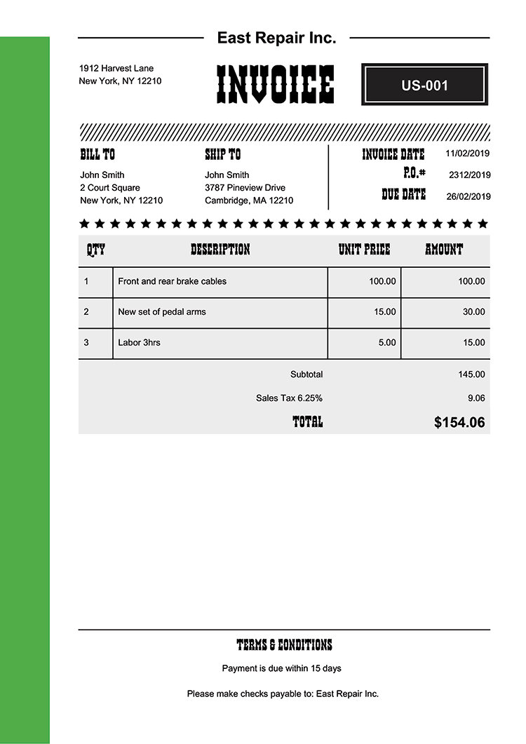 Invoice Template Us Western Green No Logo
