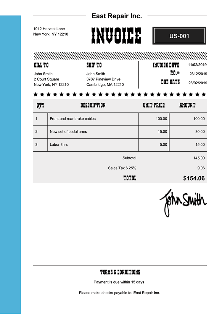 Invoice Template Us Western Light Blue