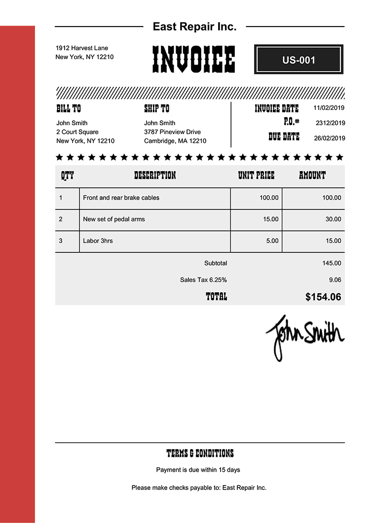 Invoice Template Us Western Red