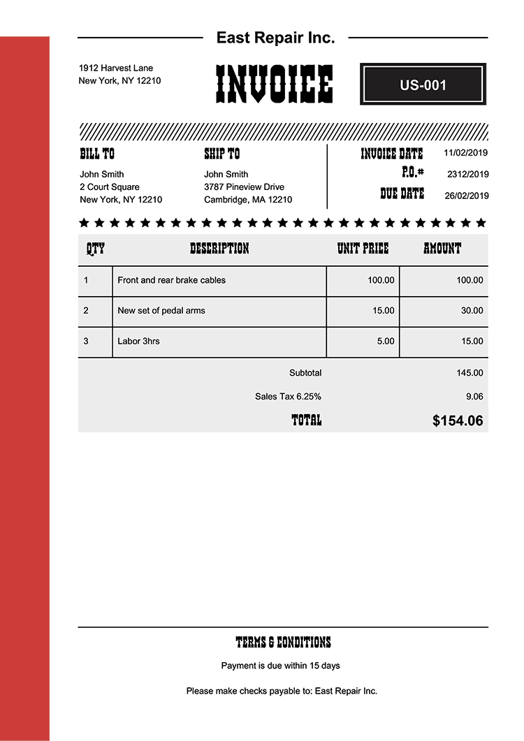 Invoice Template Us Western Red No Logo