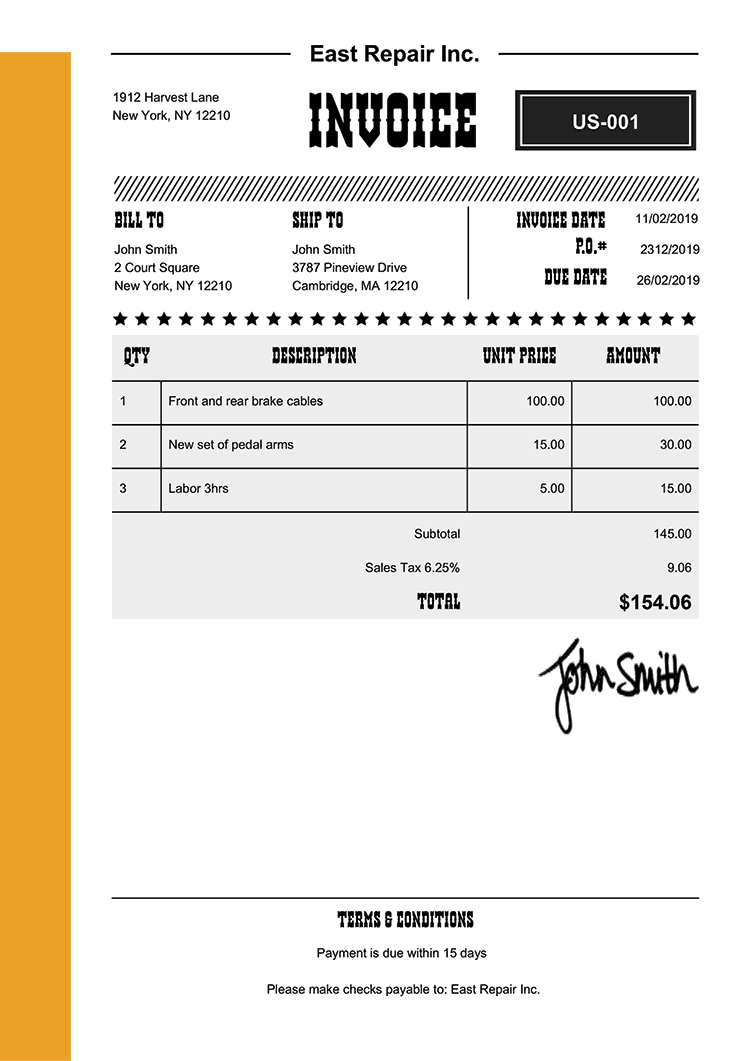Invoice Template Us Western Yellow
