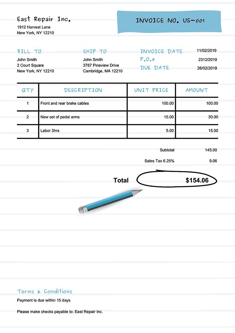 Invoice Template Us Workbook Light Blue No Logo