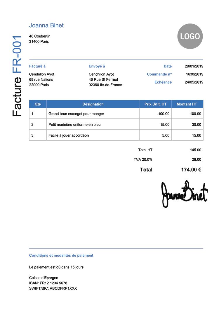 mod u00e8les de factures pdf gratuits