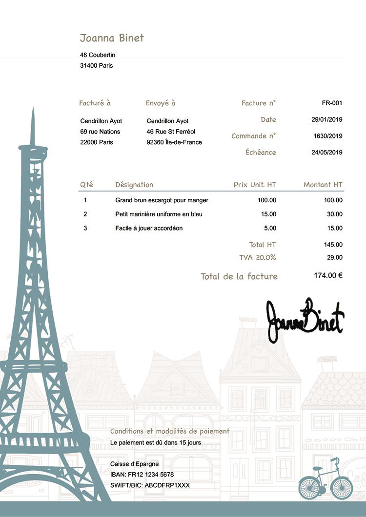 Modele Facture Fr Paris