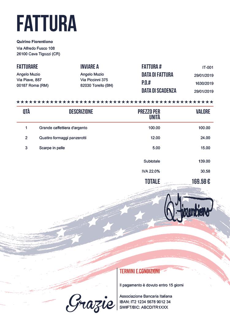 Modello Fattura It Bandiera Stati Uniti