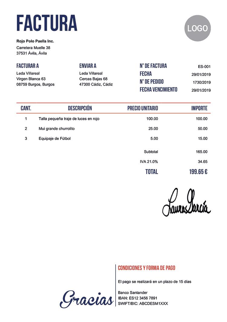 modelos de facturas gratis para imprimir