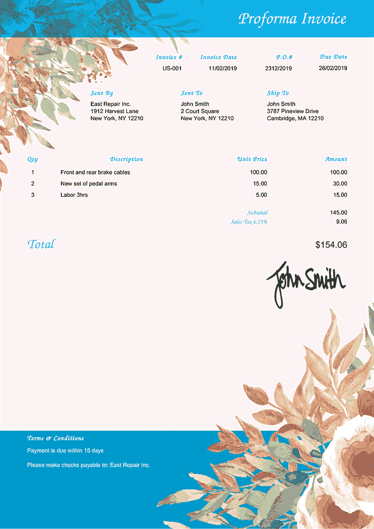 Proforma Invoice Template Us Blooming Blue