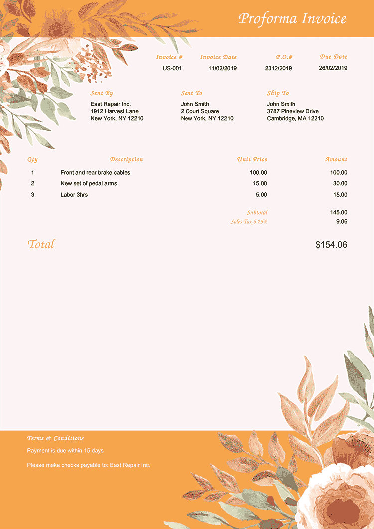 Proforma Invoice Template Us Blooming Orange No Logo