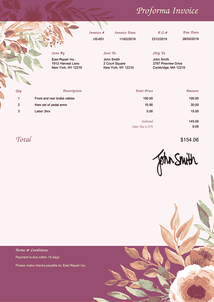 Proforma Invoice Template Us Blooming Plum