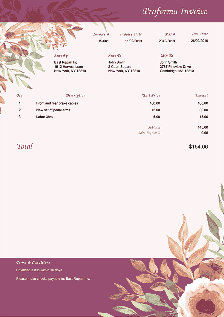 Proforma Invoice Template Us Blooming Plum No Logo