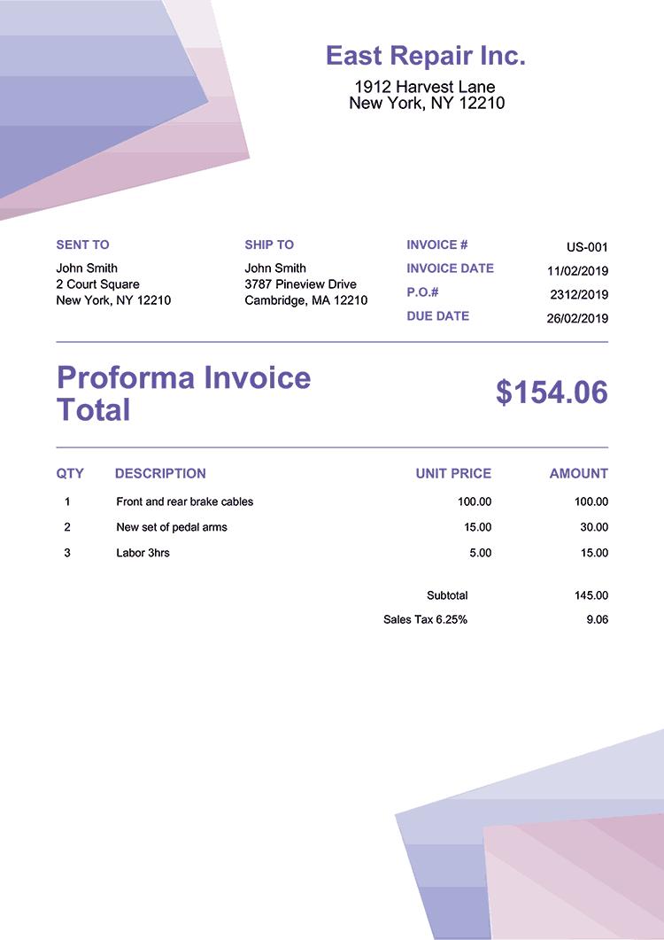 Proforma Invoice Template Us Bubblegum