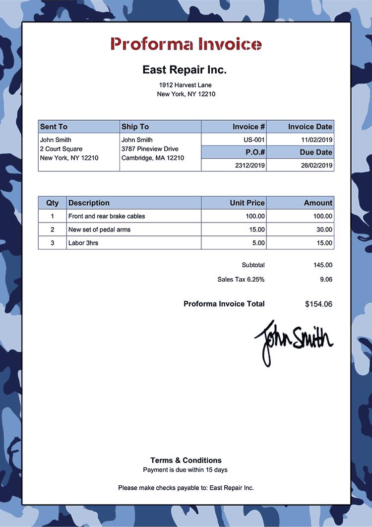 Proforma Invoice Template Us Camo Blue