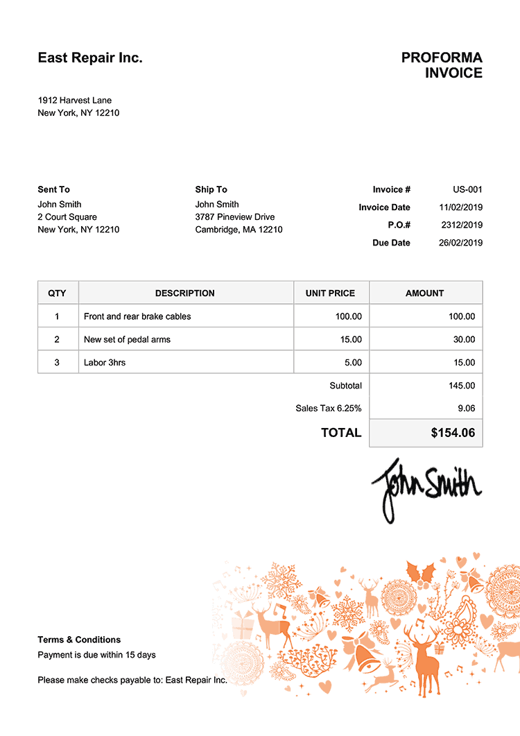 Proforma Invoice Template Us Christmas Motif Orange