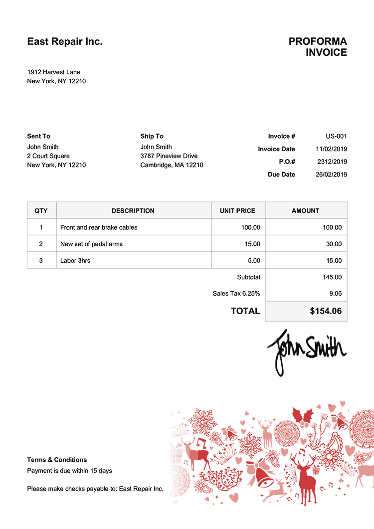Proforma Invoice Template Us Christmas Motif Red