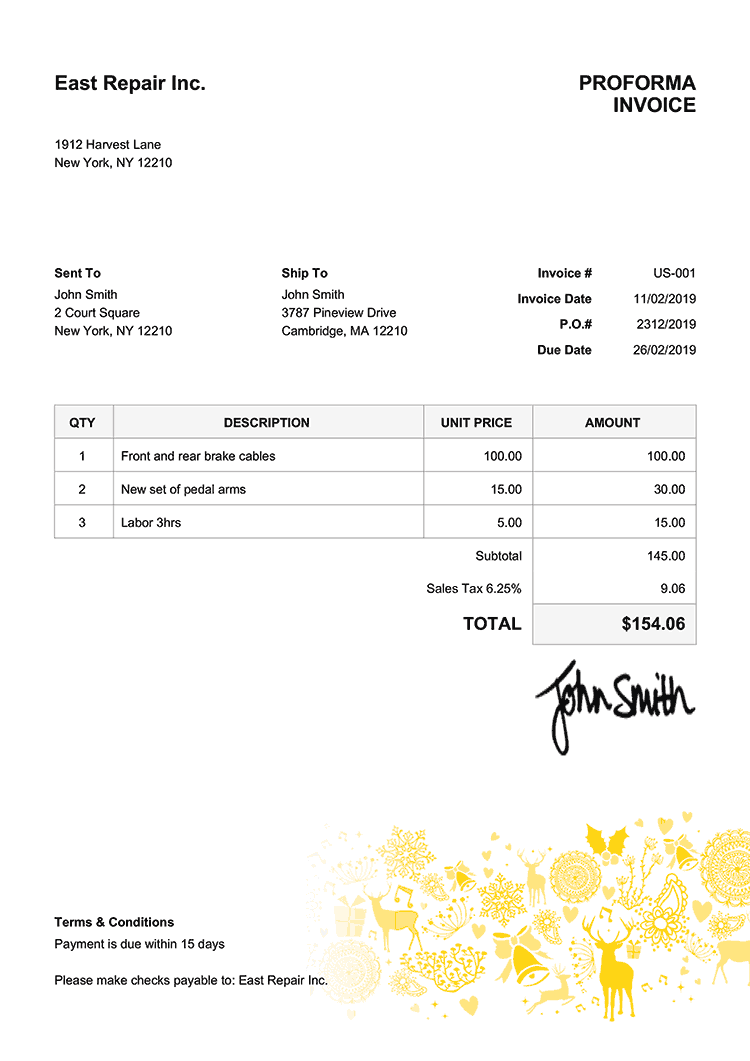 Proforma Invoice Template Us Christmas Motif Yellow