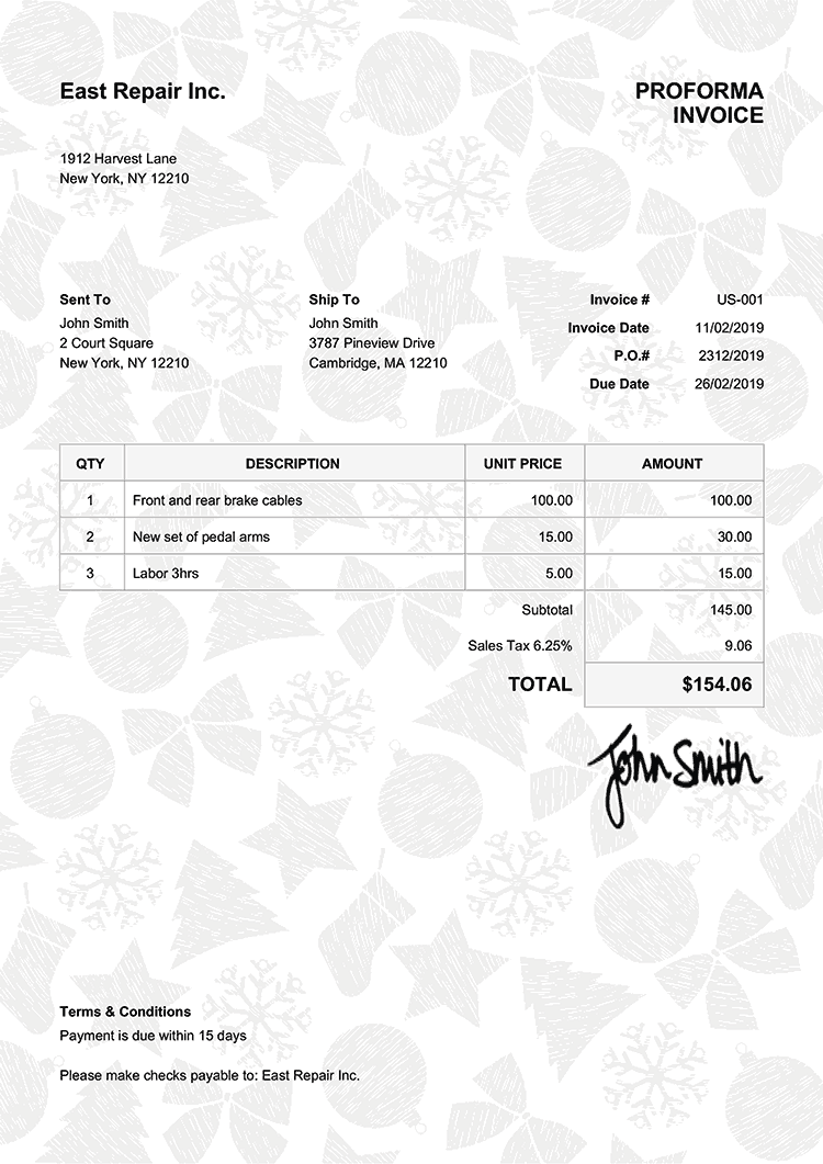 Proforma Invoice Template Us Christmas Pattern Black