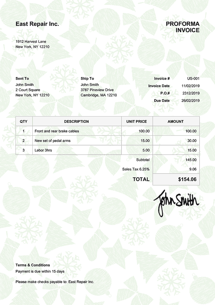 Proforma Invoice Template Us Christmas Pattern Green