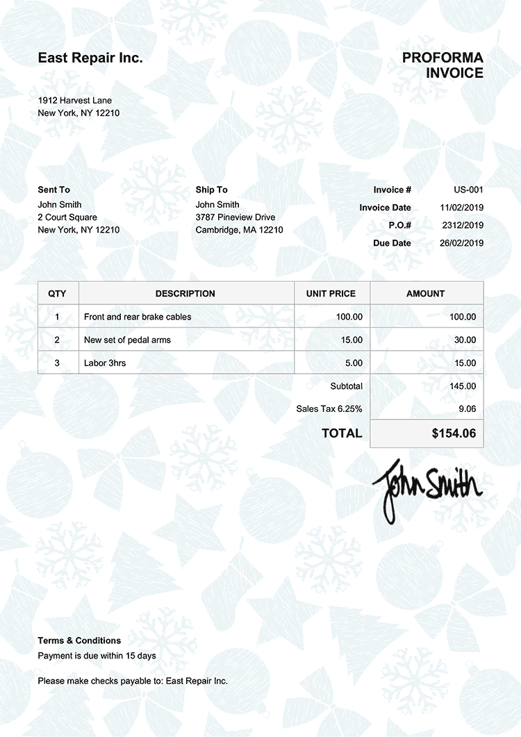 Proforma Invoice Template Us Christmas Pattern Light Blue