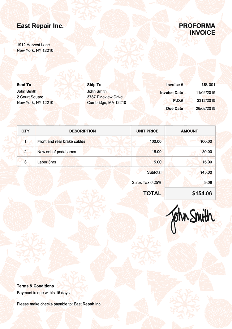 Proforma Invoice Template Us Christmas Pattern Orange