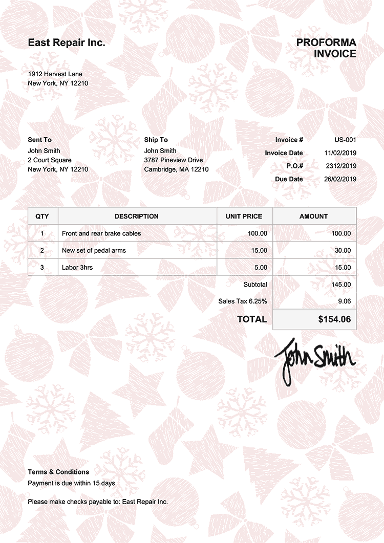 Proforma Invoice Template Us Christmas Pattern Red