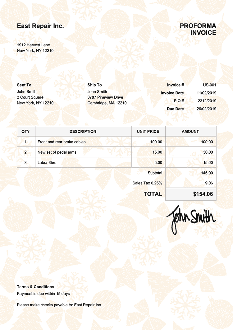 Proforma Invoice Template Us Christmas Pattern Yellow