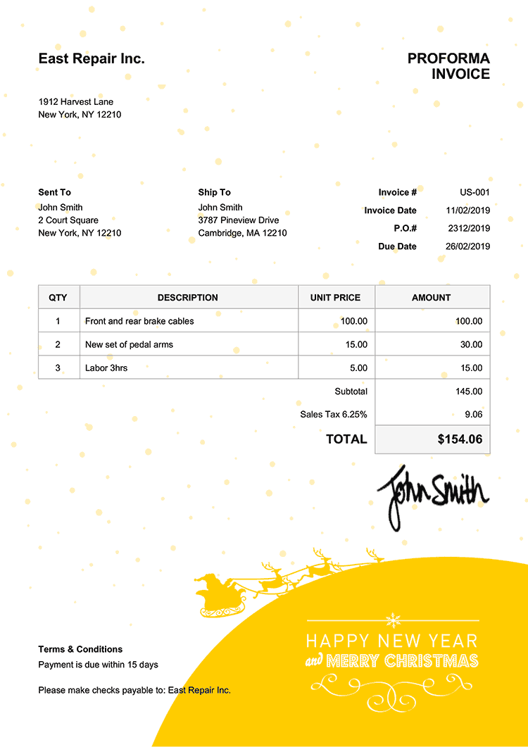 Proforma Invoice Template Us Christmas Santa Yellow