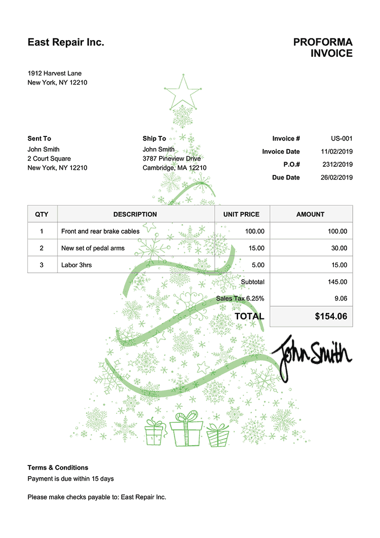 Proforma Invoice Template Us Christmas Tree Green