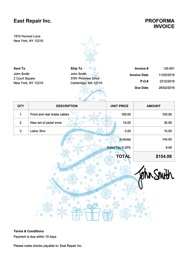 Proforma Invoice Template Us Christmas Tree Light Blue