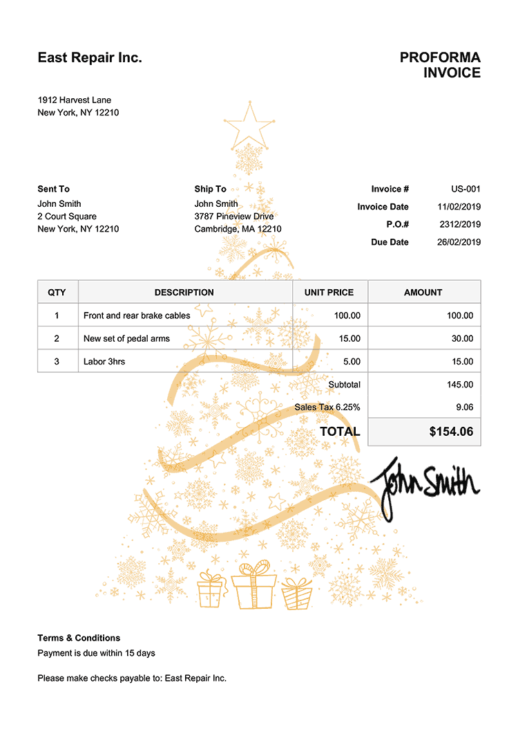 Proforma Invoice Template Us Christmas Tree Yellow