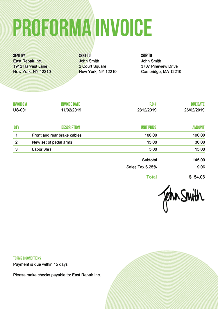 Proforma Invoice Template Us Circles Green