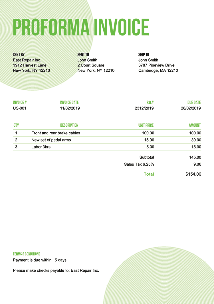 Proforma Invoice Template Us Circles Green No Logo