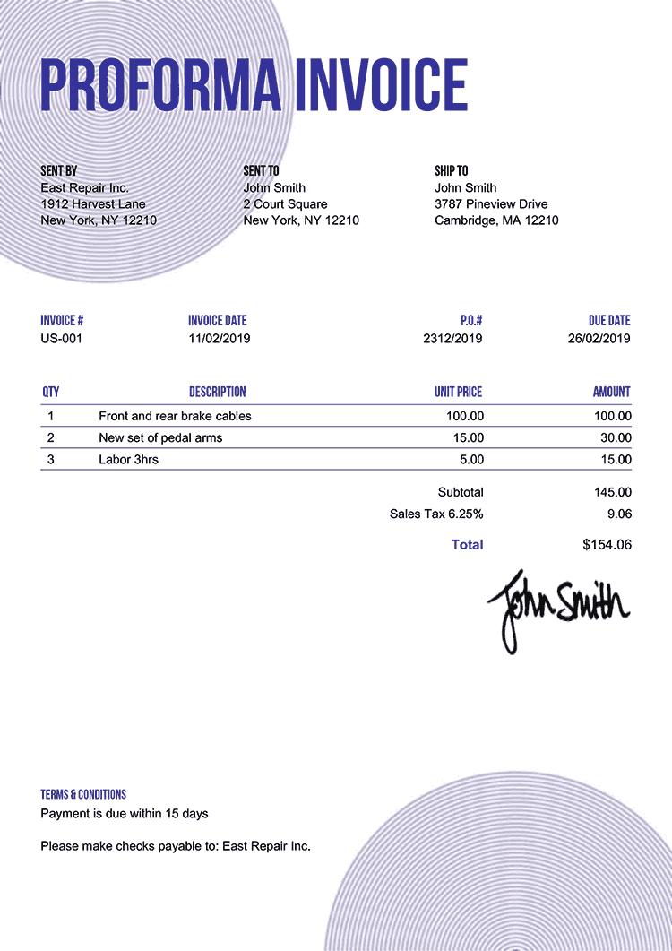 Proforma Invoice Template Us Circles Purple