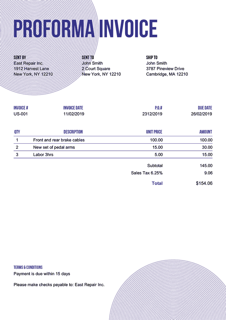 Proforma Invoice Template Us Circles Purple No Logo