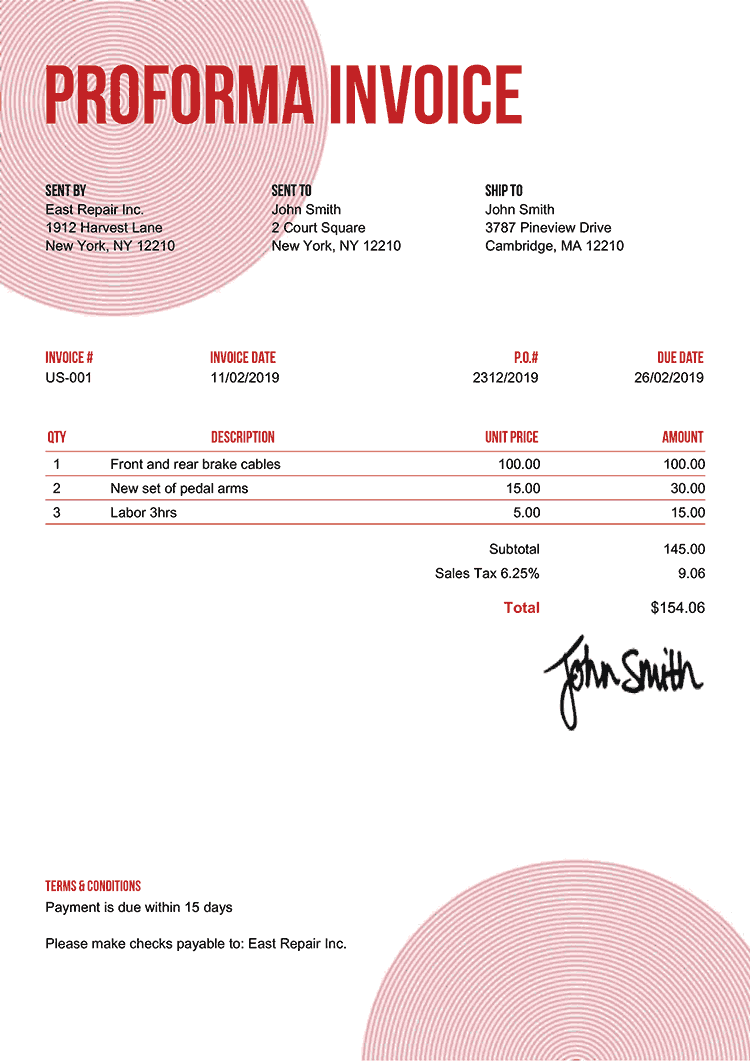 Proforma Invoice Template Us Circles Red