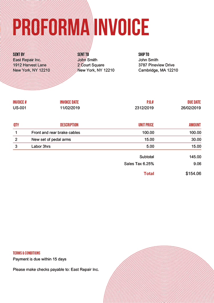 Proforma Invoice Template Us Circles Red No Logo