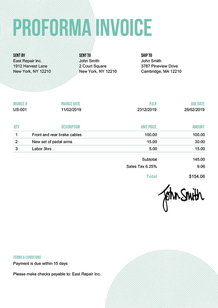 Proforma Invoice Template Us Circles Turquoise