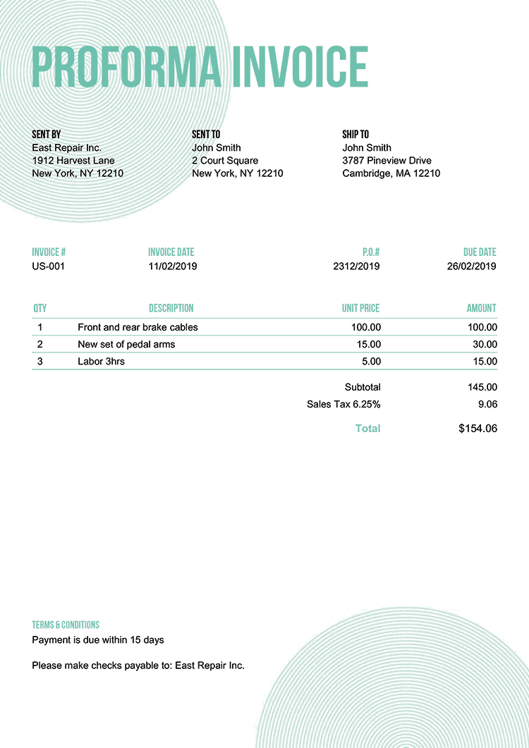 Proforma Invoice Template Us Circles Turquoise No Logo