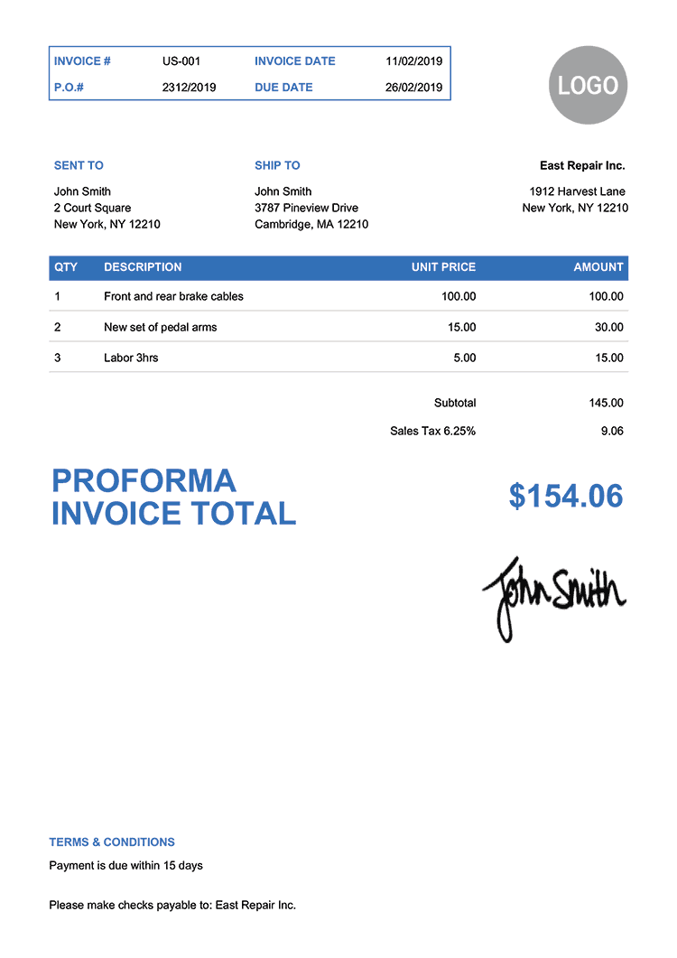 Proforma Invoice Template Us Clean Blue