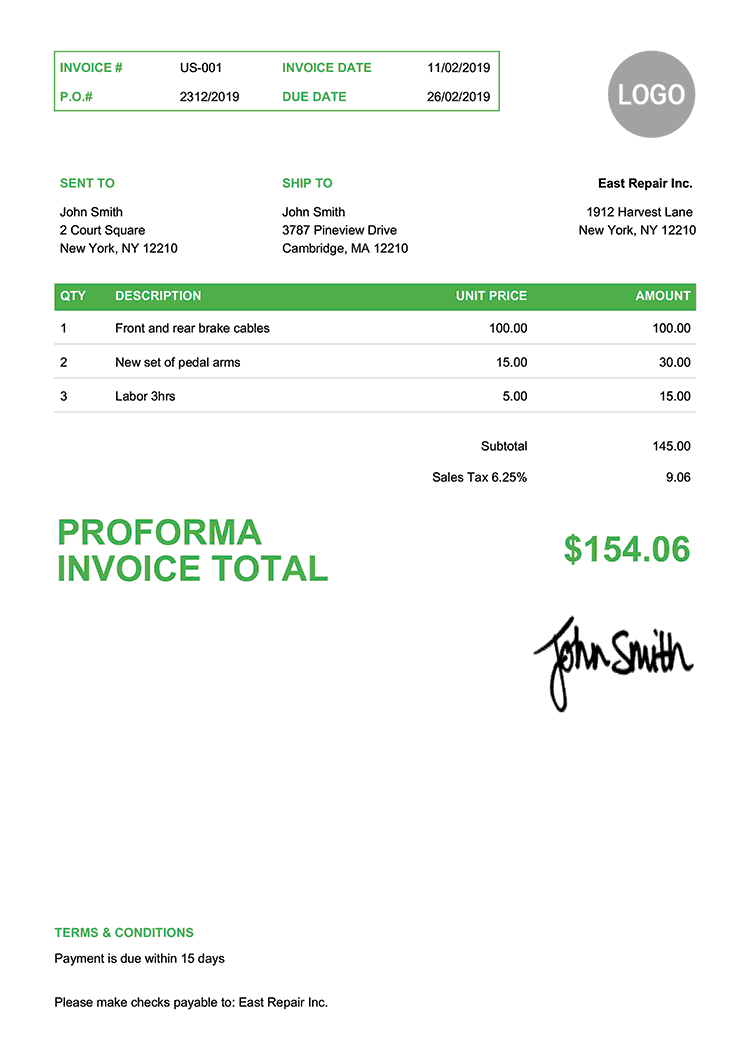 Proforma Invoice Template Us Clean Green