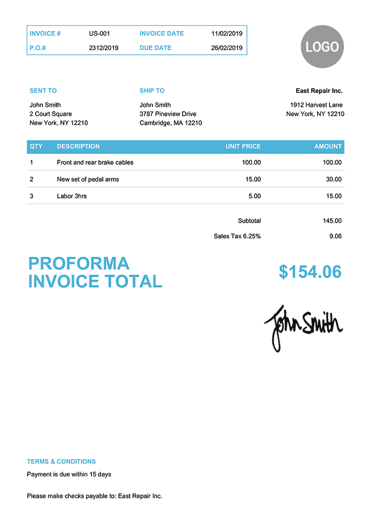 Proforma Invoice Template Us Clean Light Blue