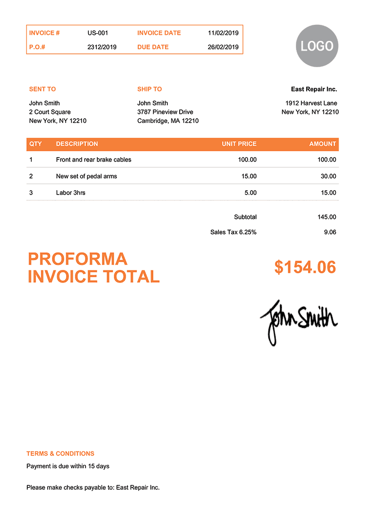 Proforma Invoice Template Us Clean Orange