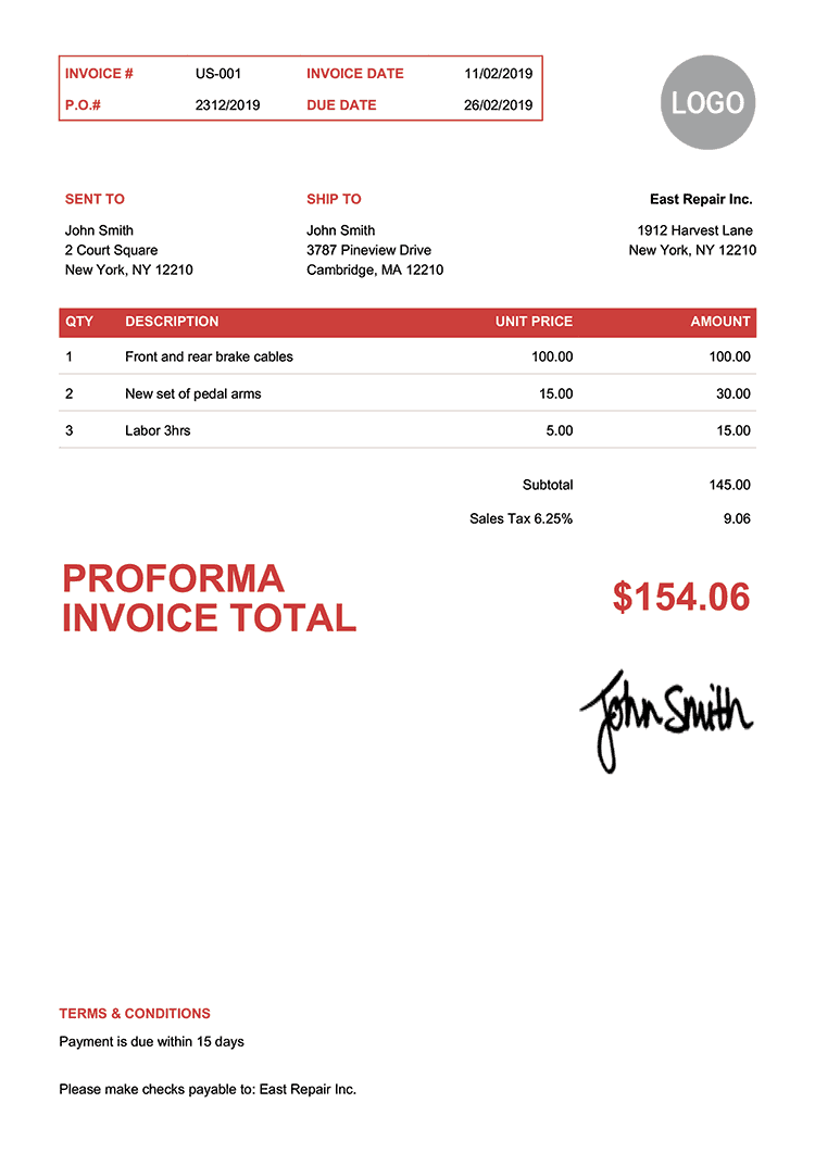 Proforma Invoice Template Us Clean Red