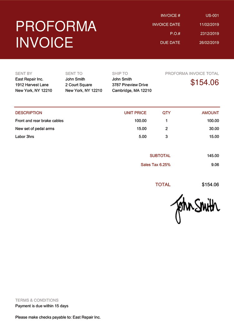 Proforma Invoice Template Us Contemporary Red