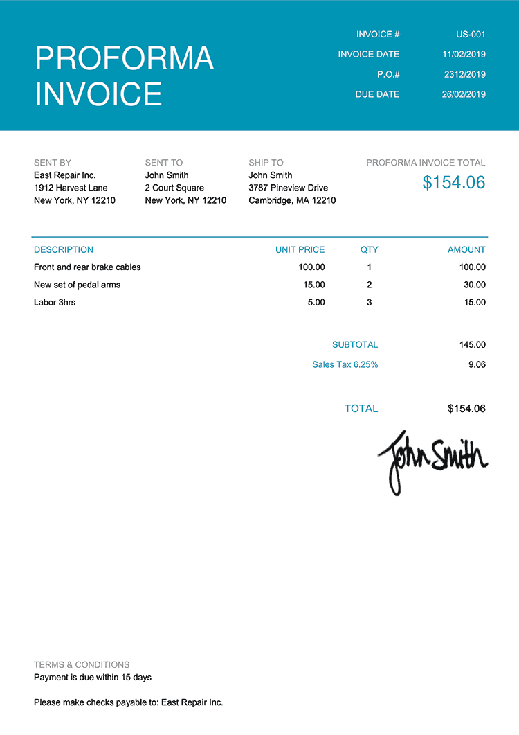 Proforma Invoice Template Us Contemporary Teal