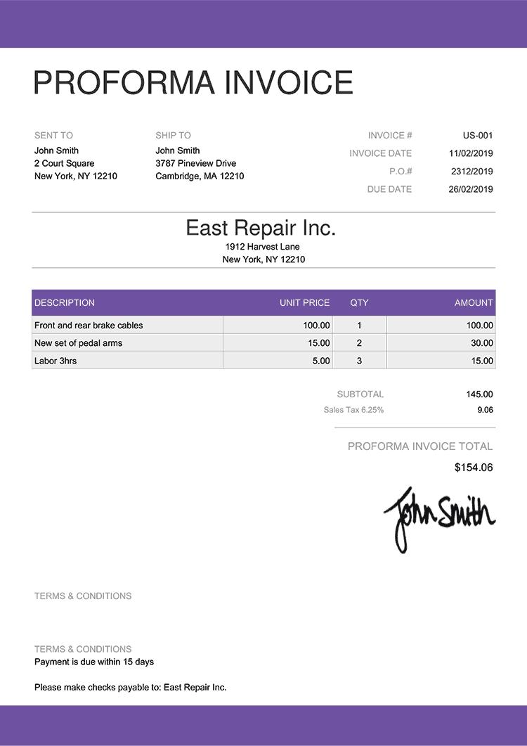 Proforma Invoice Template Us Enterprise Purple