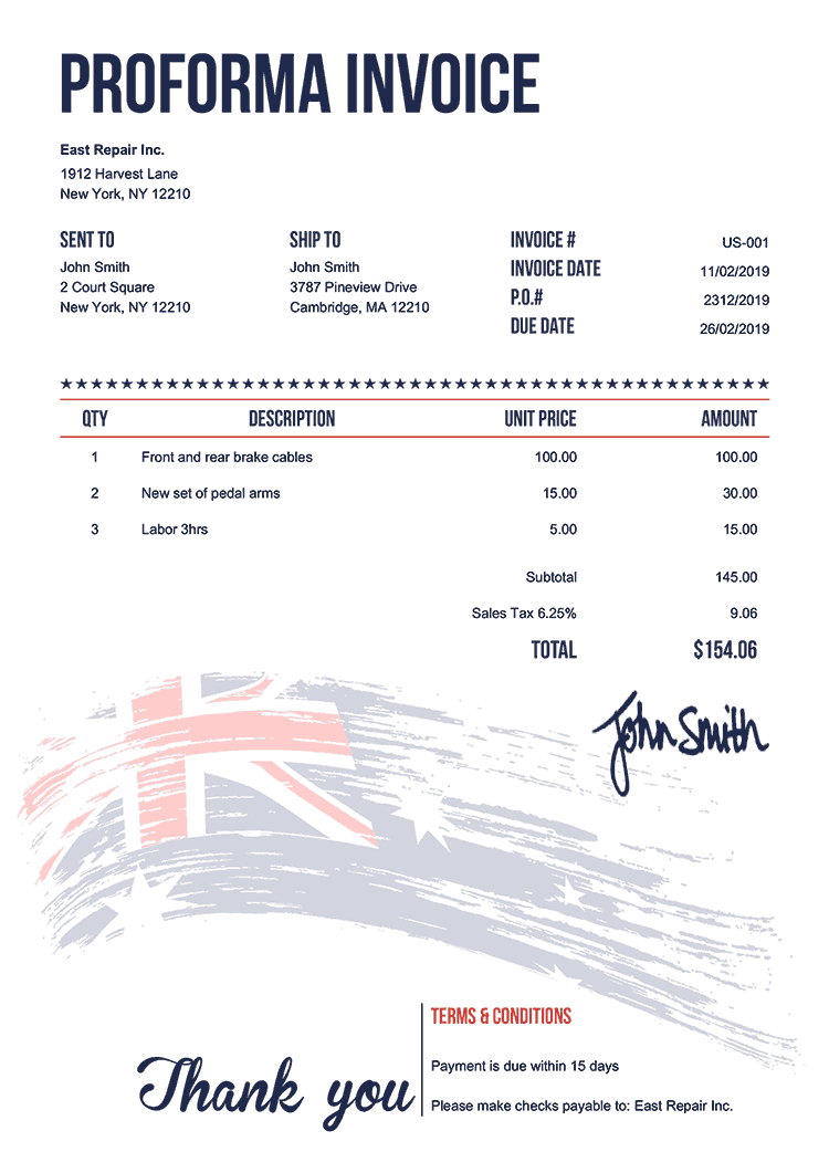 Proforma Invoice Template Us Flag Of Australia
