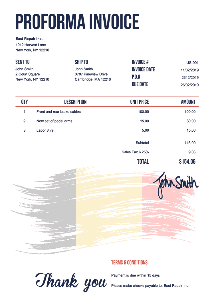 Proforma Invoice Template Us Flag Of Belgium