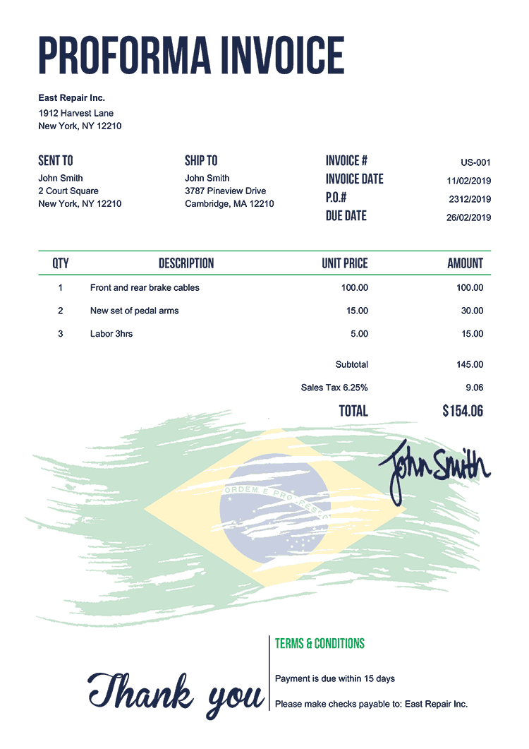 Proforma Invoice Template Us Flag Of Brazil